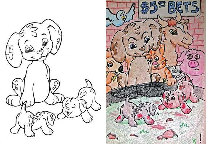 永远不要把儿童涂色本拿给心里灰暗的成年人因为太恐怖了